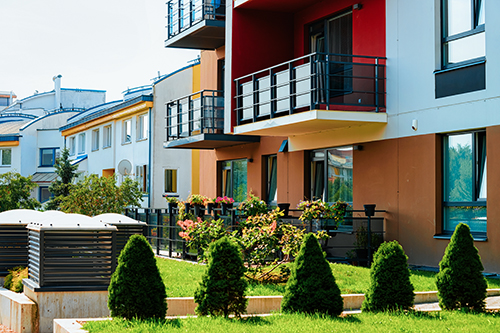 Modern residential apartment home flat building complex block outdoor